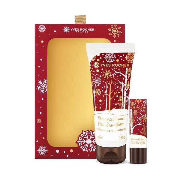 Hand Cream and Lip Balm Duo Box Set - First Snowflakes, Holiday Collection, Gift ideas