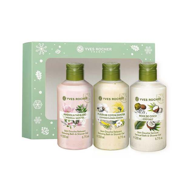 Bath and Shower Gel 200 ml Trio Box Set - Magnolia,Cotton and Coconut, Les Plaisirs Nature, Gift ideas
