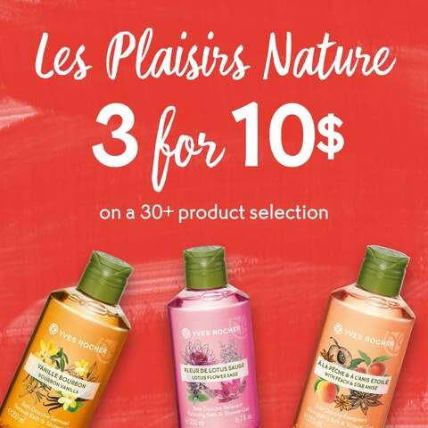 Your Les Plaisirs Nature selection: 3 products for $10!